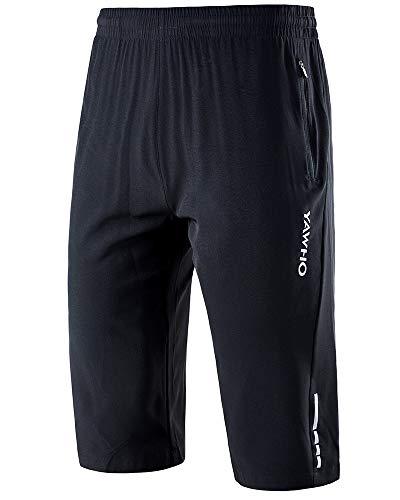 YAWHO Herren Sporthose Kurz Hose Laufshorts Trainingsshorts Schnelltrocknend mit Reißverschlusstasche/Jogging Hose für Workout,Laufsport,Fitness (Black (1909), 2XL)