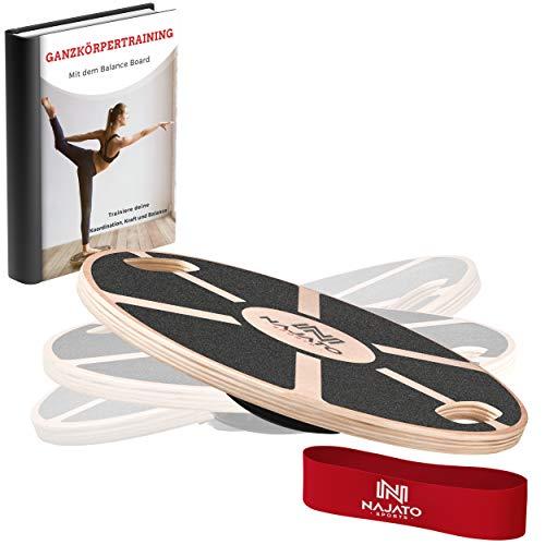 NAJATO Sports Balance Board – Wackelbrett mit rutschfestem gummiertem Standfuß – Gleichgewichtstrainer mit Handgriffen für mehr Übungsmöglichkeiten – Balance Board Holz