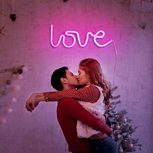 GLOWTRONIX GLOWTROINX Creative LED Neon Sign Night Light Rainbow Love Wedding Party Decoration Neon Lamp Christmas Decor for Home Ornaments Xmas Gifts-Pink