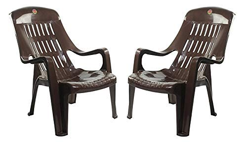 Furniture Dealz Plastic Casual Arm_Rest Chair (Brown, 2 Pieces)
