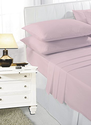 Ashton Polly-cotton Plain Dyed Duvet Cover with Matching Pillowcases Baby Pink - Single, Double, King, Super King (Baby Pink, Super King)