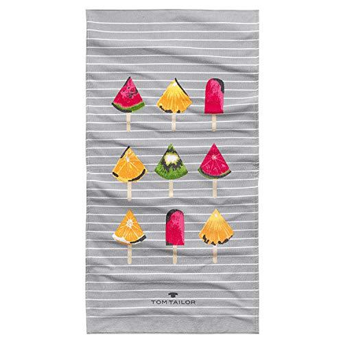 TOM TAILOR Frottier Strandtuch Früchte am Stiel Papaya, ca. 85x160 cm
