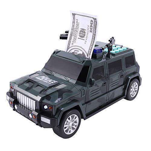 Gesh Moneybox - Hucha de papel para niños, gran caja de dinero para guardar monedas de gran tamaño, juguete musical, contraseña, camión, coche, alcancía A