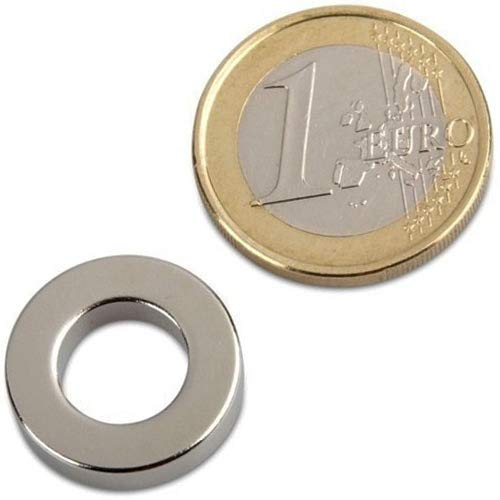 10 x Ringmagnet Magnet-Ring Ø 18/10 x 4 mm Neodym N40 (NdFeB) Nickel - hält 2,5 kg - starke Magnete (Supermagnete) mit extremer Haftkraft für Industrie und Zuhause
