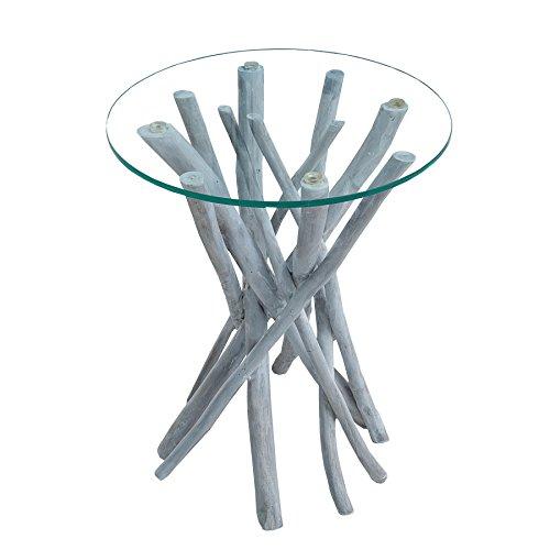 *Invicta Interior Teakholz Couchtisch Driftwood markant grau Beistelltisch mit Glasplatte rund Wohnzimmertisch*