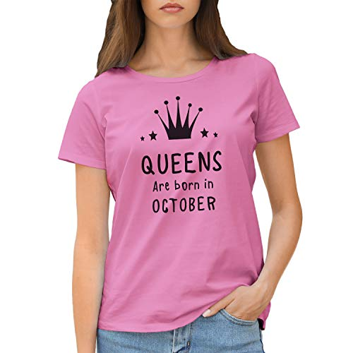 Queens Are Born In October Camiseta Rosa para Mujer Size S