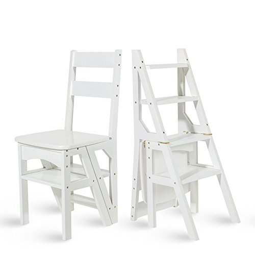 MEIDUO Durable Selles Chaise pliante en bois Bibliothèque pliante Steps Ladder Chair Utilisation de bureau de cuisine pour intérieur extérieur (Couleur : Blanc)