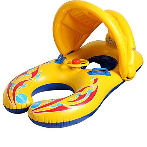 TTDD Galleggiante di Nuoto di Madre e Neonato, con baldacchino Gonfiabile del Parasole, Anello di Nuoto, Giocattolo del Galleggiante della Piscina (Barca a Doppio Sedile