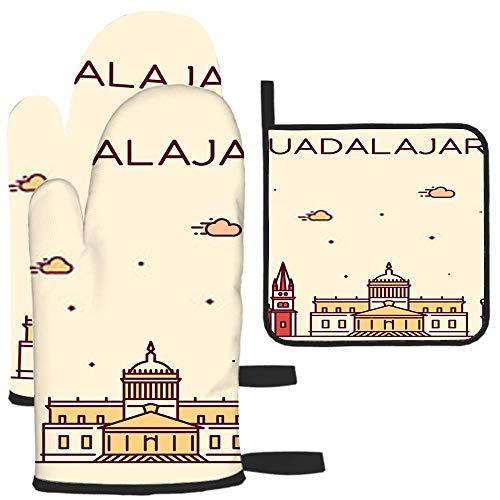 Bgejkos Guadalajara Jalisco Mexico A Linear M Potholder grill guanti guanti da forno e presine con guanti da cucina in poliestere impermeabile per cucinare grigliate