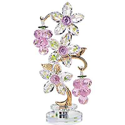 H&D HYALINE & DORA Crystal Pink Grape Decor with Rotating Base Collectible Figurines Ornaments Display for Home Table Centerpiece
