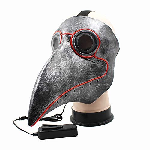 Towinle Halloween Maske Cosplay LED Leuchten Maske Erwachsene Kinder Schnabelmaske Mittelalter Pest Maske Doktor Arzt Kopfmaske Party Fasching Venedig Maske Karneval Verkleidung Kostüm