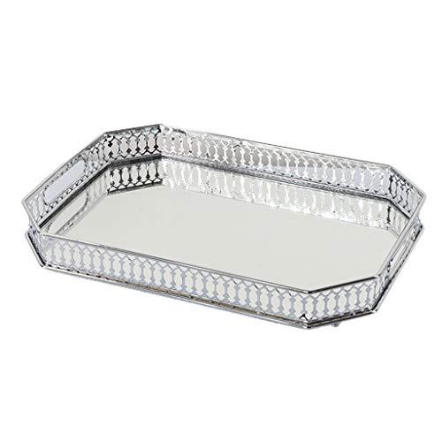 FLAMEER Dekorative verspiegelte Make-up-tablett Spiegel parfüm Glas eitelkeit schmuck Service tablett klassisch für kommode küche und Badezimmer