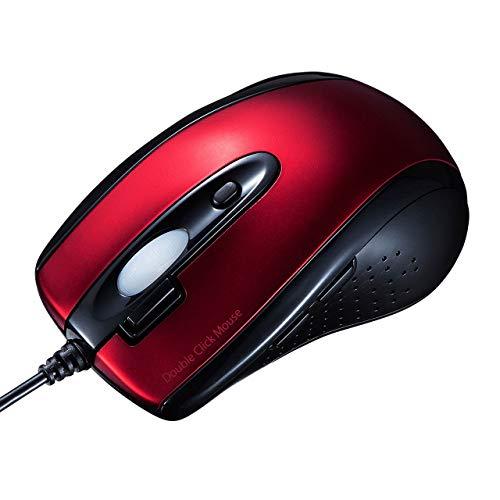 サンワサプライ 有線IR LEDマウス(ダブルクリックボタン付き) レッド MA-IR125R