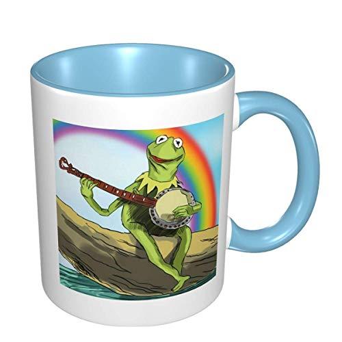 Hdadwy Kaffeetassen FrOg des KeRmit Spill Proof, Reisen, Camping, Bier, Tee, niedliche lustige große Keramik Big Cup Handwärmer Tasse für Frauen und Männer