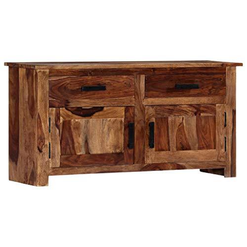 Festnight Sideboard mit 2 Türen und 2 Schubladen Beistellschrank Anrichte Standschrank Kommode Highboard 100 x 30 x 50 cm Massivholz Sheesham