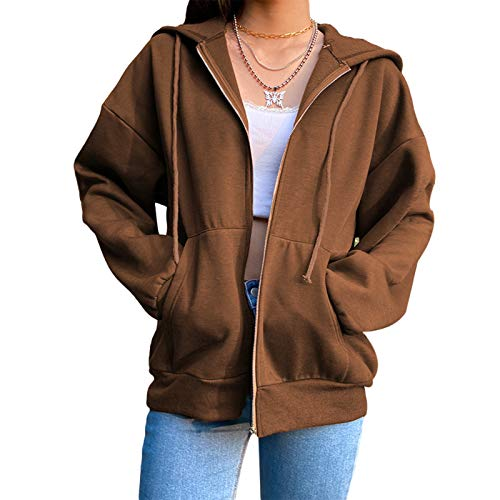 Snaked cat Chaqueta con capucha para mujer Y2K Oversize Sudadera con cremallera y capucha de manga larga (marrón, mediano)