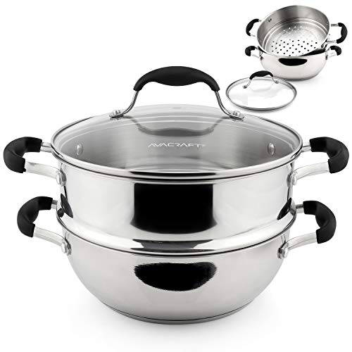AVACRAFT 18/10, 3 Piece Stainless Steel Steamer Cooking Pot Set, Steamer for Cooking, Everyday Pan,...