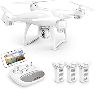 Potensic T35 GPS Drone, RC Quadcopter with 1080P Camera FPV Live Video, Dual GPS Return Home, Follow Me, Altitude Hold, 2500mAh Battery Long Control Range, 3 Batteries