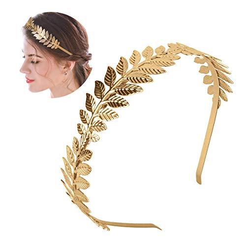 XCOZU - Corona de hojas romanas, tiara de oro con banda de hojas, diadema para novia, para chicas, tocado de hoja de laurel, tocado bohemio