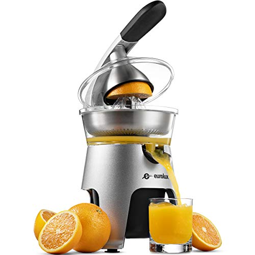 Eurolux Die Cast Stainless Steel Electric Citrus Juicer Squeezer, for Orange, Lemon, Grapefruit   300 Watts of Power, With 2 Stainless Steel Filter Sizes for Pulp Control