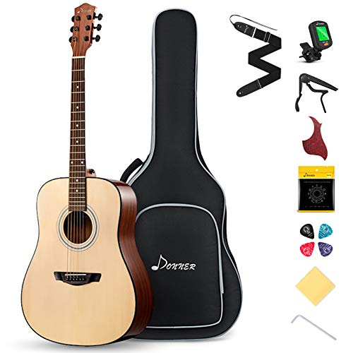 Donner DAD-412 Beginner Acoustic Guitar SoildTop SpruceDreadnought Full Size 41 Inch Acustic Guitarra Bundle Starter Kit for Adult with Gig Bag Tuner Capo Picks Strap String Clean Cloth