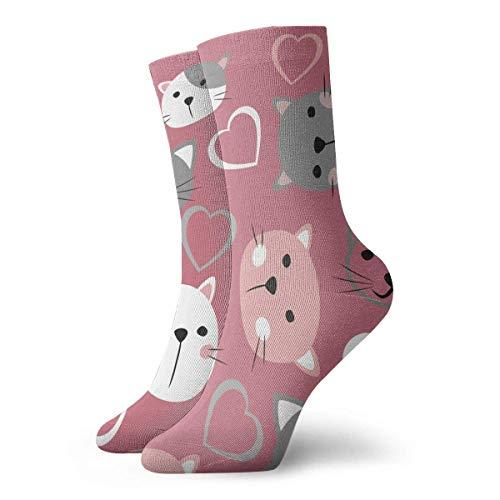 N\A Cat Face Seamless Background Crew Cushion Calcetines deportivos deportivos casuales de algodón para correr para hombres y mujeres