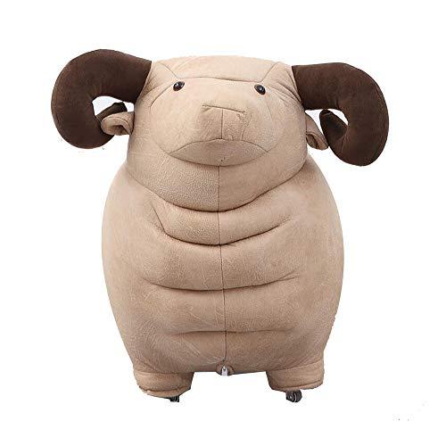 YumEIGE kruk kruk schaap, houten frame + PU-leer zachte tas, trapschuimel voor kinderen woonkamer slaapkamer, kinderkamer, op wieltjes, belasting 70 kg
