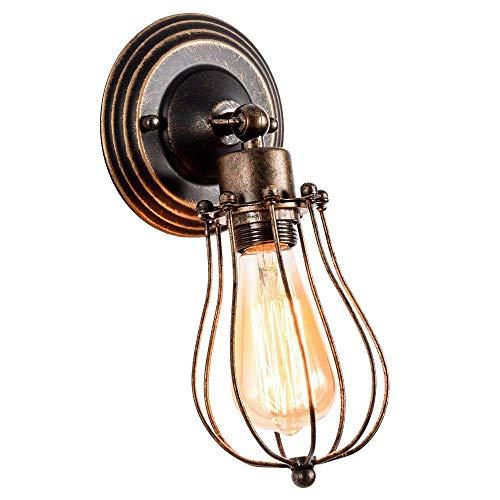 Huahan Haituo Edison industriales Retro Vintage luz aplique con 1/2/3/4/5 luces Retro rústico de pared aplique (oro de barrido, 1 bombilla)