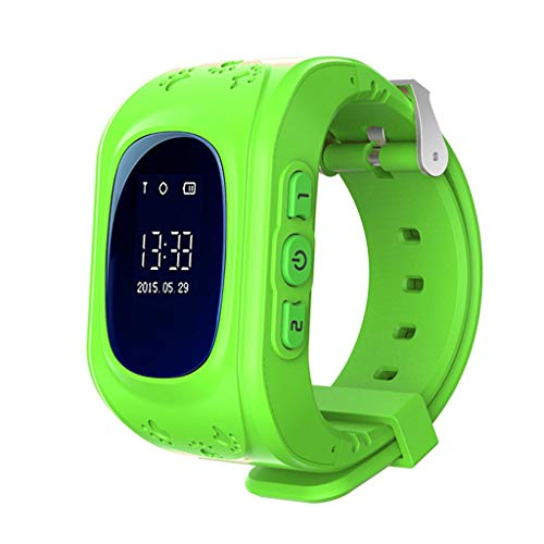 FANZIFAN Montre Intelligente GPS Enfants Regarder Urgence Bracelet sos Montre Intelligente bébé 2g sim téléphone Enfants surveillent Bracelet garçons Filles Montres 2019, Vert