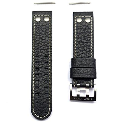 Cinturino in pelle nera banda orologio Hamilton Khaki x Wind auto 22mm...