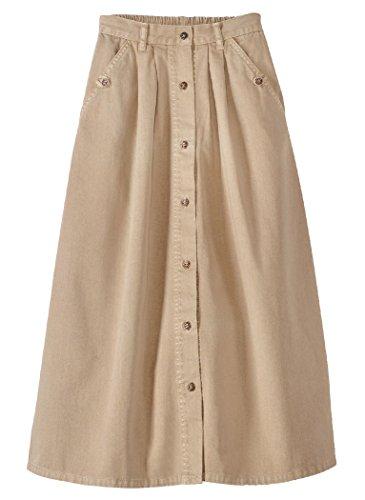 AmeriMark Denim Button-Front Skirt Knee Length Side Pockets and Elastic Back Khaki 14 Misses