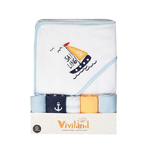 Asciugamano e salviette da bagno con cappuccio per bambini, ottimo regalo per neonati e neonati, tocco morbido e forte assorbimento, confezione da 6