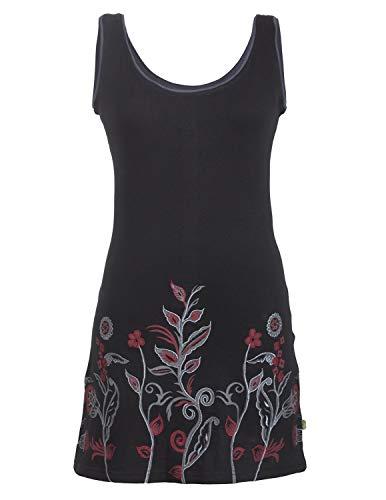 Vishes - Alternative Bekleidung - Ärmelloses Blumenshirt Blumenkleid Bedruckt und Bestickt aus Baumwolle schwarz 42