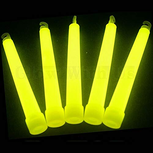 "Glow Sticks Bulk Wholesale, 25 6"" Industrial Grade Yellow Light Sticks. Bright Color, Glow 12-14 Hrs, Safety Glow Stick with 3-Year Shelf Life, GlowWithUs Brand"