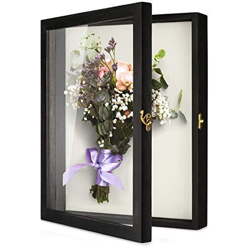 TJ.MOREE Blumen Schattenbox Vitrine 35 x 28 cm Großer Shadowbox Rahmen mit Glasfenstertür Hochzeitsstrauß Medaillen Fotos Aufbewahrungsbox für Andenken - Rustikales Schwarz