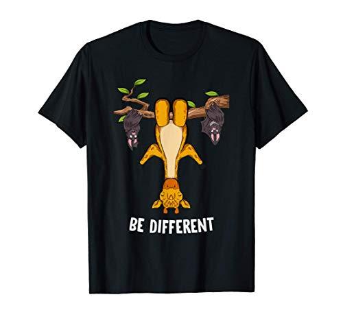 Be Different Motivation Spruch lustiges Giraffe Motiv T-Shirt