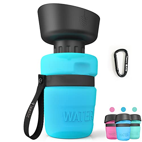 Pet Water Bottle for Dogs, dog water bottle foldable, Dog Travel Water bottle, Dog Water Dispenser, Lightweight & Convenient for Travel BPA Free 18 OZ. (Blue)