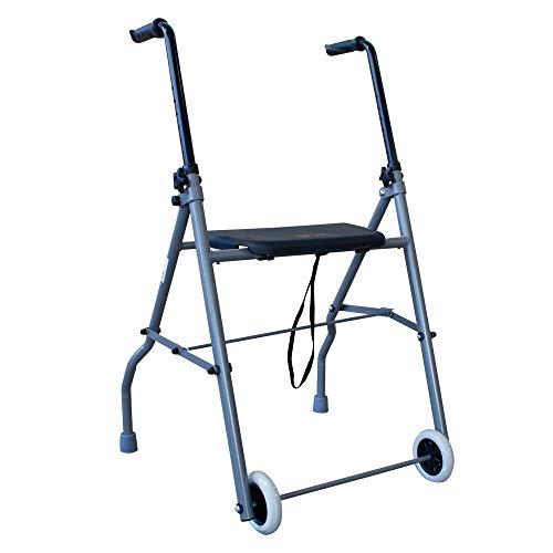 Herdegen - Deambulatore pieghevole a due ruote, girello, per anziani comodo e leggero