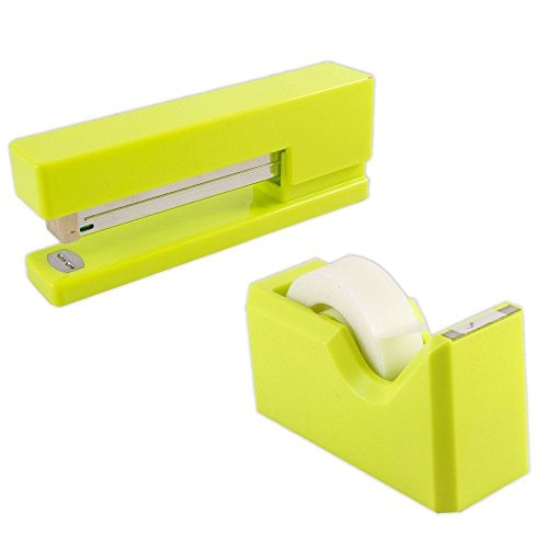 JAM PAPER Office & Desk Sets - 1 Stapler & 1 Tape Dispenser - Lime Green - 2/Pack