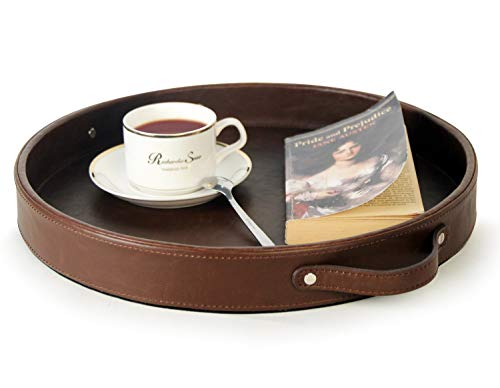 HofferRuffer Top Nocth PU Leather Round Serving Tray, Decorative Serving Tray with Handles, Coffee Tray, Ottoman Tray for Home Or Office, Diameter 14.6-inch, Brown