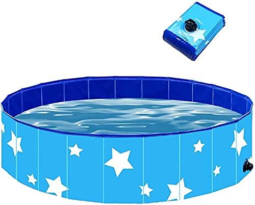 Piscina extra grande para mascotas, antideslizante UV-a prueba de UV CLORURO DE POLIVINILO Piscina plegable de remo con piscina de baño de frisbees para perros, gatos, niños, espesando la piscina de p