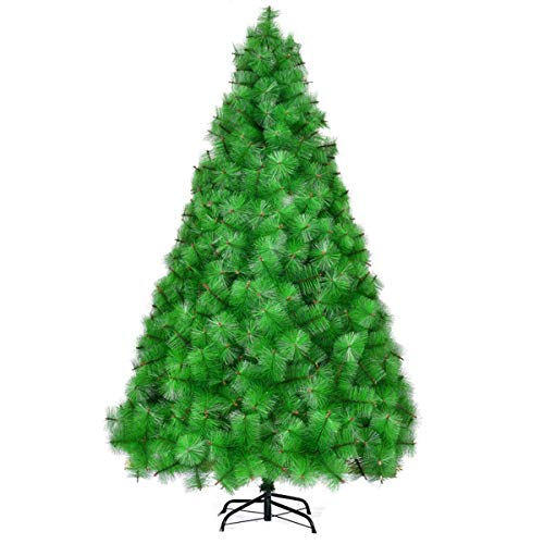 ZLJ Premium Christmas Tree Blue Spruce Zippered Artificial Christmas Tree Zippered Pine Tree Premium PVC Needles/Solid Metal Holder Indoor and Outdoor Full Christmas Tree 1.8m