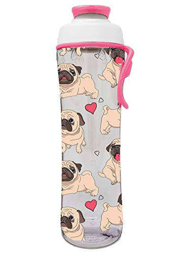 50 Strong 24 oz. Reusable Water Bottle for Girls & Boys - BPA Free - Perfect for School, Fits in a Backpack - Leakproof Cap & Easy Carry Strap - Great for Girl, Boy, Kid or Kids - USA Made (Pug Life)