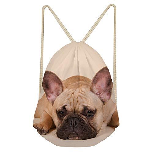 Showudesigns French Bulldog Cinch Gym Bags Kids Girls Boys String Drawstring Backpack