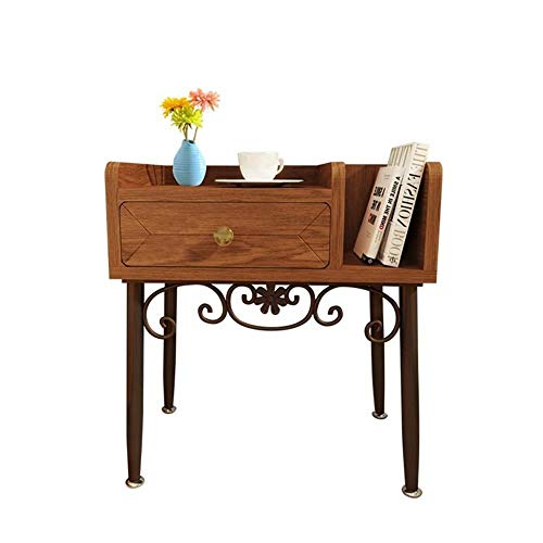 TXXM® Herstellung Massivholz-Eisen-Nachttisch Schlafzimmer Lagerschrank, einfache Side Cabinet Nussbaum Farbe Praktische Möbel