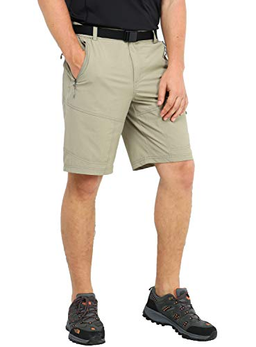 MIER Men's Stretch Hiking Shorts Lightweight Outdoor Cargo Shorts with 5 Zipper Pockets, Quick Dry and Water Resistant, Rock Grey, 38