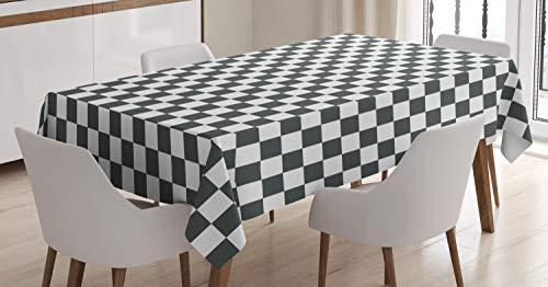 ABAKUHAUS A Cuadros Mantele, clásico Tablero de ajedrez, Estampado con la Última Tecnología Lavable Colores Firmes, 140 x 200 cm, Gris Blanco