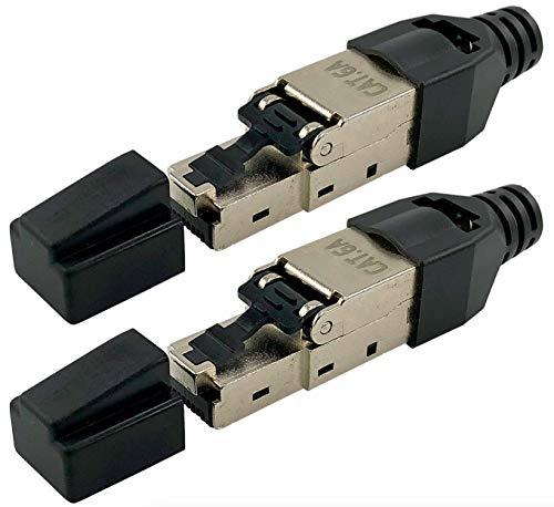 odedo® 2X Cat.6A RJ45 Crimp Stecker feldkonfektionierbar für CAT 6A, CAT7 10 Gigabit Verlegekabel Netzwerkkabel bis 9mm AWG 23-26 Geschirmt mit Zinklegierung Kontakte vergoldet Werkzeugfreie Montage