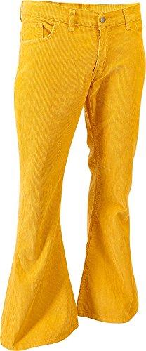 Chenaski Hose Mustard Schlaghose, Retro 70er Größe XL