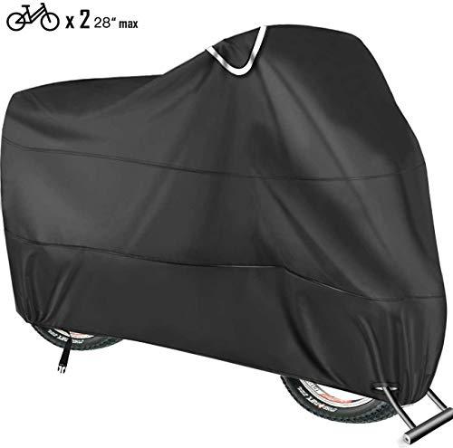 Copribici Impermeabile per 2 Bicicletta - Telo Copri Bicicletta Impermeabile Antipolveri Anti-UV per Esterni - 200 x 110 x 80CM con Sacca per Il Trasporto (Nero)